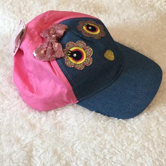 NWT Cute toddler girl cap hat pink Jean blue